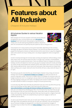 Features about All Inclusive