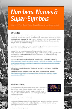 Numbers, Names & Super-Symbols