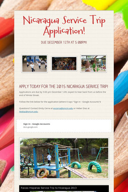 Nicaragua Service Trip Application!