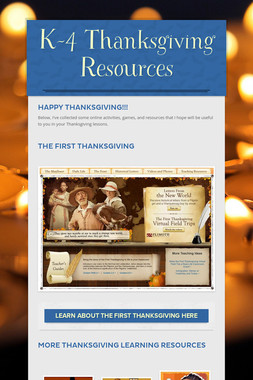 K-4 Thanksgiving Resources