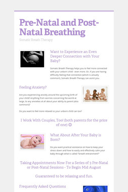 Pre-Natal and Post-Natal Breathing