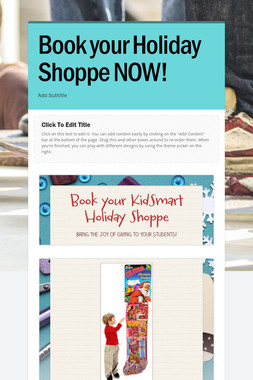 Book your Holiday Shoppe NOW!