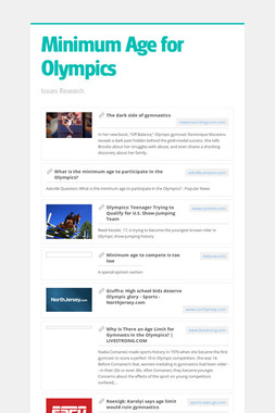 Minimum Age for Olympics