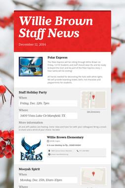 Willie Brown Staff News