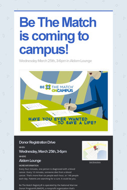 Be The Match is coming to campus!
