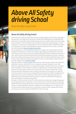 Above All Safety driving School
