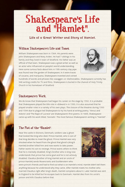 "Shakespeare's Life and ""Hamlet""."