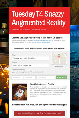Tuesday T4 Snazzy Augmented Reality