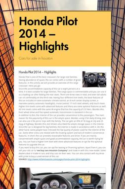 Honda Pilot 2014 – Highlights