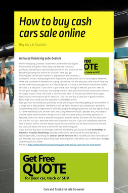How to buy cash cars sale online