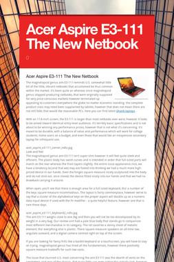 Acer Aspire E3-111  The New Netbook