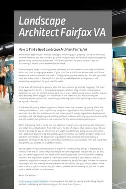 Landscape Architect Fairfax VA