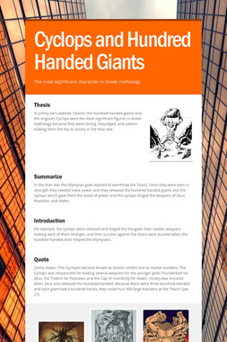 Cyclops and Hundred Handed Giants