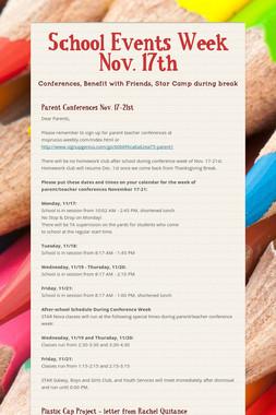 School Events Week Nov. 17th