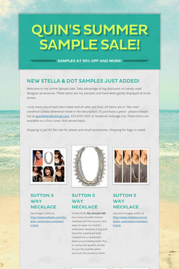 QUIN'S SUMMER SAMPLE SALE!