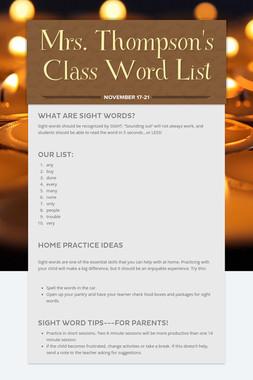 Mrs. Thompson's Class Word List