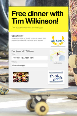 Free dinner with Tim Wilkinson!