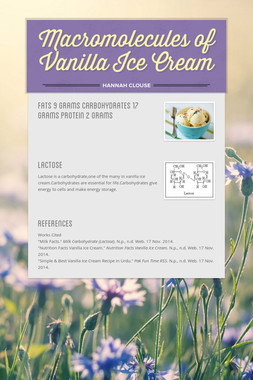 Macromolecules of Vanilla Ice Cream