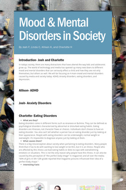 Mood & Mental Disorders in Society