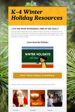 K-4 Winter Holiday Resources