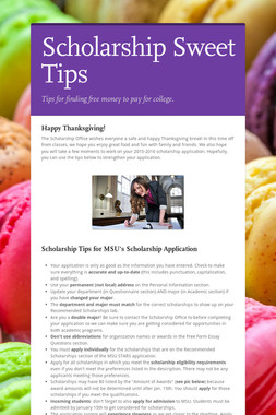 Scholarship Sweet Tips
