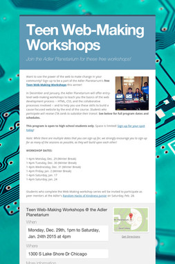 Teen Web-Making Workshops