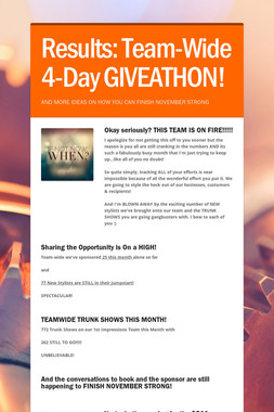 Results: Team-Wide 4-Day GIVEATHON!