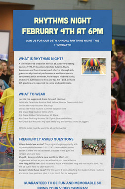 Rhythms Night February 4th at 6PM