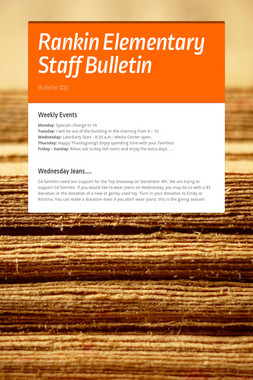 Rankin Elementary Staff Bulletin