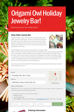 Origami Owl Holiday Jewelry Bar!