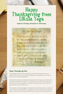 Happy Thanksgiving from LIKula Yoga