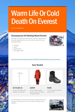Warm Life Or Cold Death On Everest