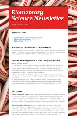 Elementary Science Newsletter