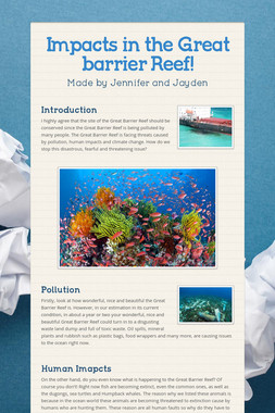 Impacts in the Great barrier Reef!
