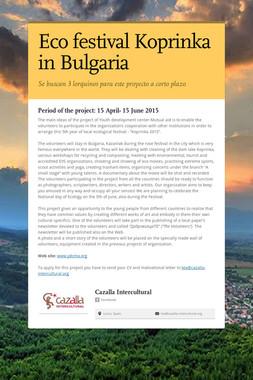 Eco festival Koprinka in Bulgaria