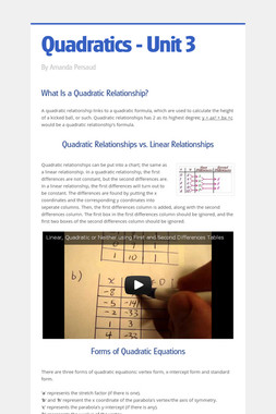 Quadratics - Unit 3