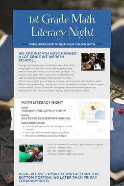 1st Grade Math Literacy Night
