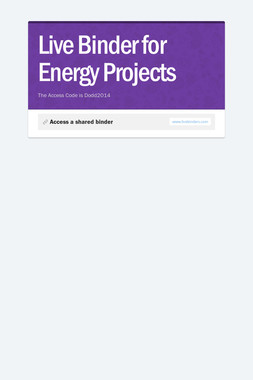 Live Binder for Energy Projects