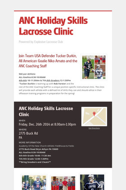 ANC Holiday Skills Lacrosse Clinic