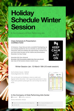 Holiday Schedule  Winter Session