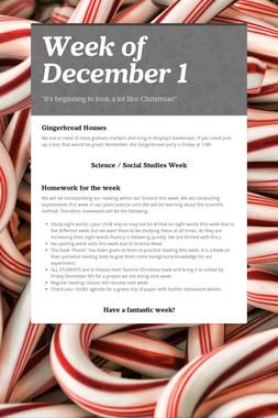 Week of December 1