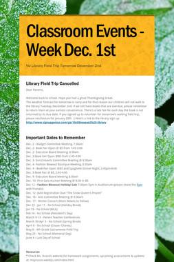 Classroom Events - Week Dec. 1st