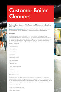Customer Boiler Cleaners