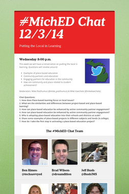 #MichED Chat 12/3/14