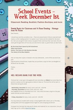 School Events - Week December 1st