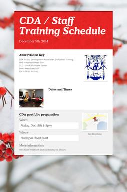 CDA / Staff Training Schedule