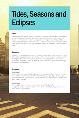 Tides, Seasons and Eclipses