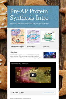 Pre-AP Protein Synthesis Intro