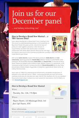 Join us for our December panel