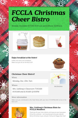 FCCLA Christmas Cheer Bistro